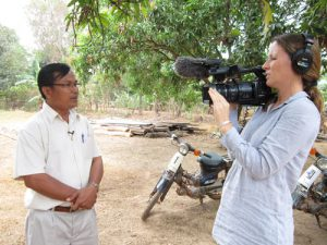 Mr Chhuon Vuthy (left), Human Resource Director of LWD, gives short interview for the film.