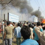In a picture is a camp in Goldhap of Jhapa, an Eastern Nepali   district, which caught into fire on 22 March